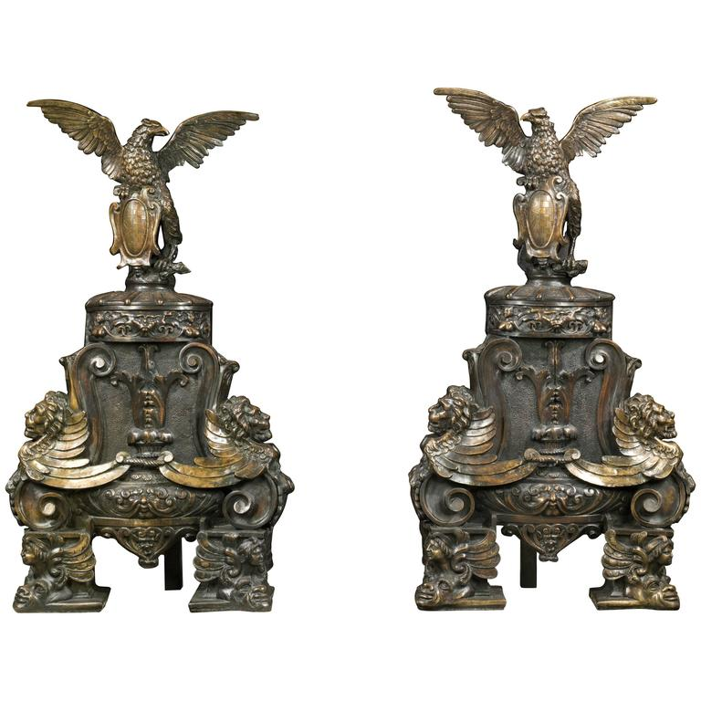 Monumental Pair of Patinated Bronze Andirons in the Baronial Baroque Manner