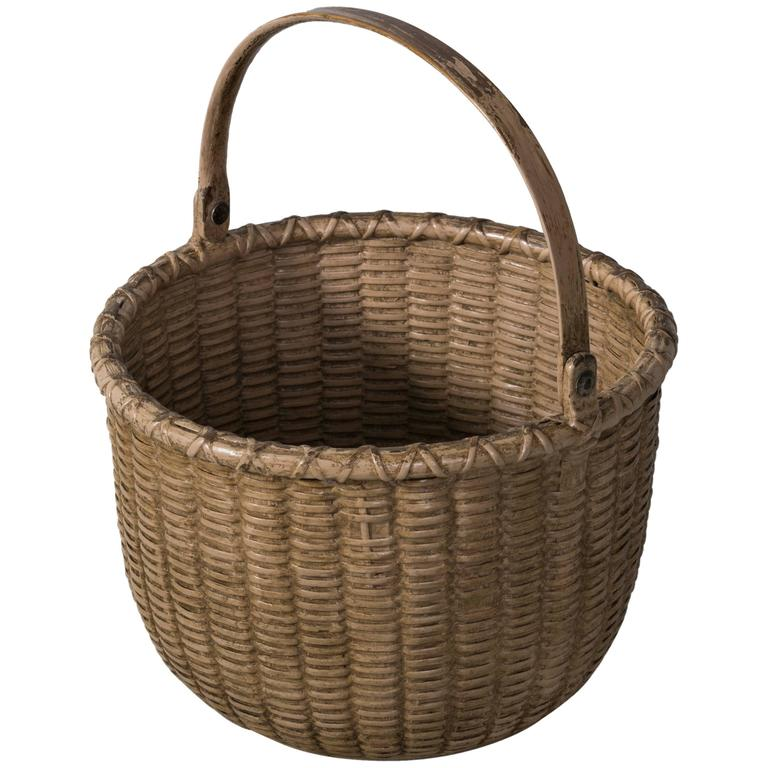 Early Salmon Painted Nantucket Light Ship Basket, Late 19th Century