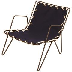 Modernist Iron and Blue Canvas Patio Lounge Chair, 1950s