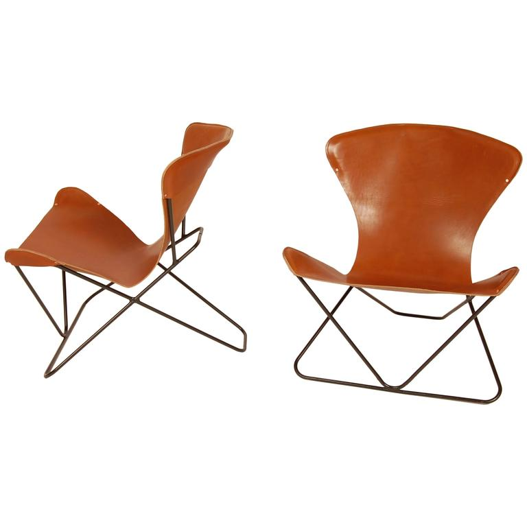 "Iron and Leather Sling Chairs California Design ""The Bolinas Lounge"" 1"