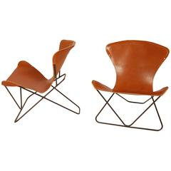 "Iron and Leather Sling Chairs California Design ""The Bolinas Lounge"""