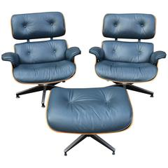 Rare Navy Blue Herman Miller Eames Lounge Chair Set