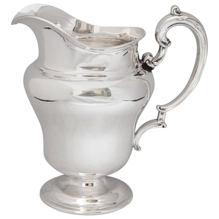 Art Nouveau Sterling Silver Water Pitcher For Sale