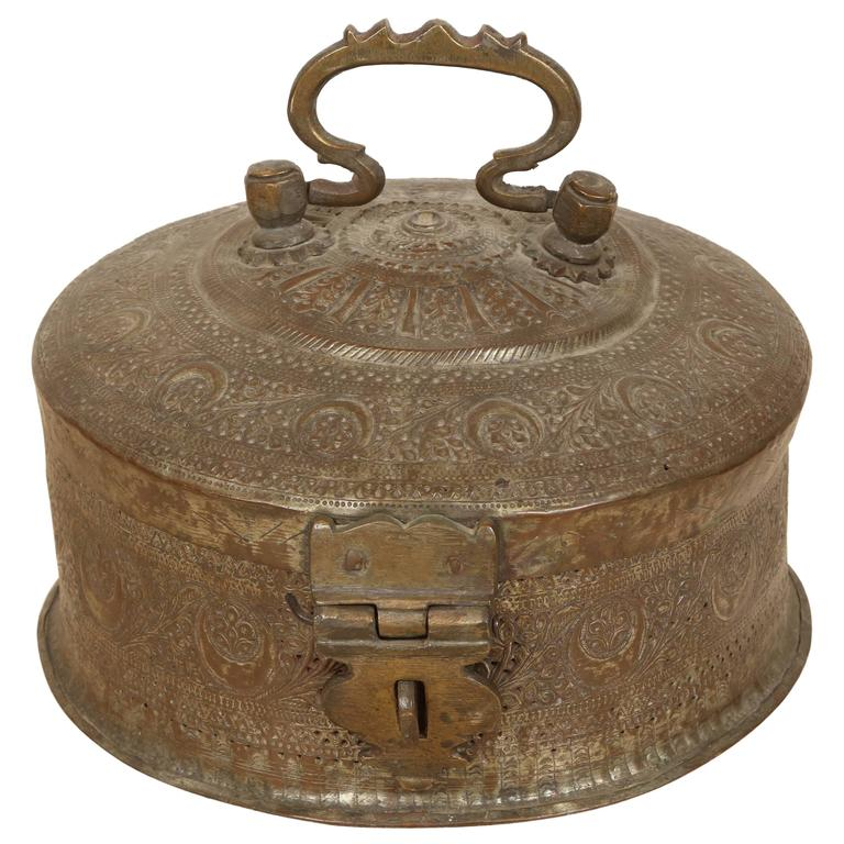 Large Decorative Round Bronze Box With Lid At 1stdibs