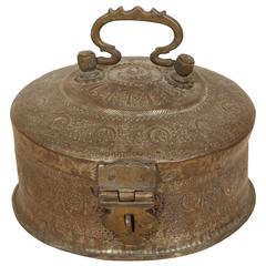 Large Decorative Round Bronze Box with Lid