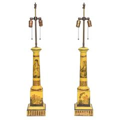 Pair of Yellow Tole-Ware Table Lamps with Decoupage, England, 19th Century