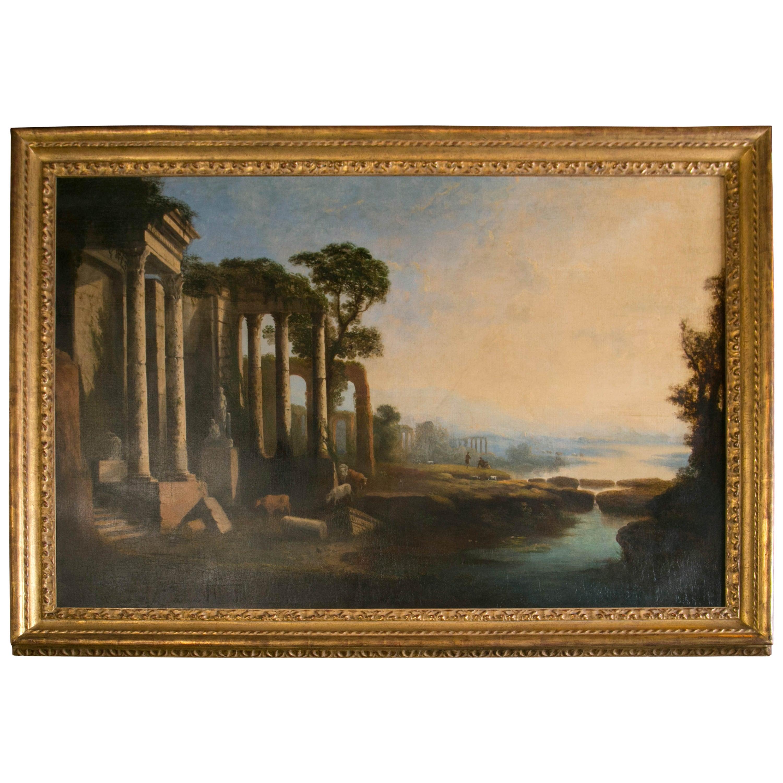 19th Century Italian O/C Painting of Ruins