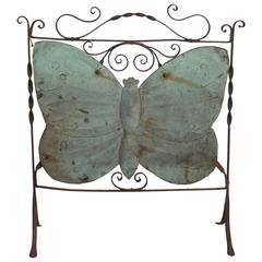 Art Nouveau Wrought Iron Butterfly Fire Screen