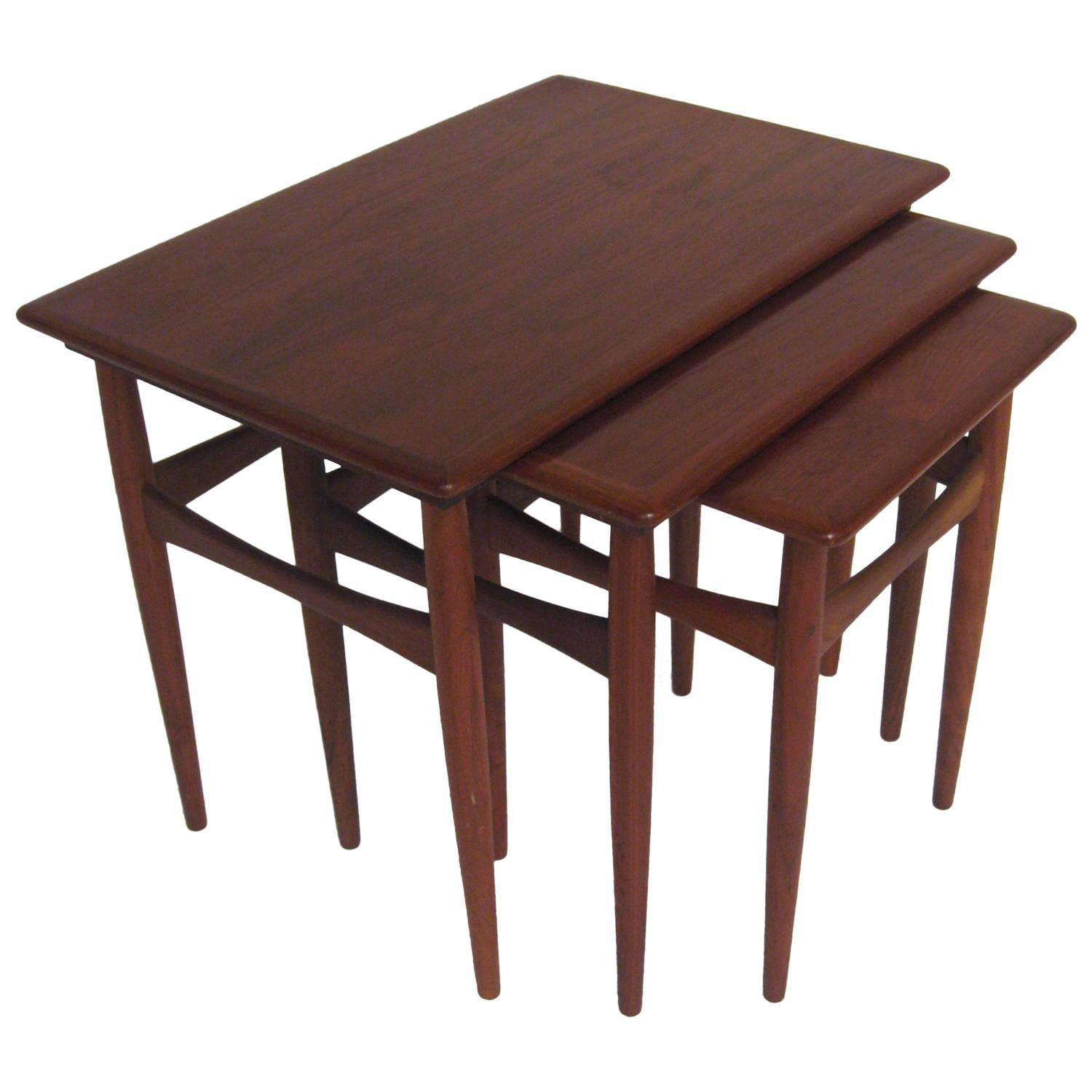 Teak Nesting Tables ~ Danish teak nesting tables by poul hundevad at stdibs