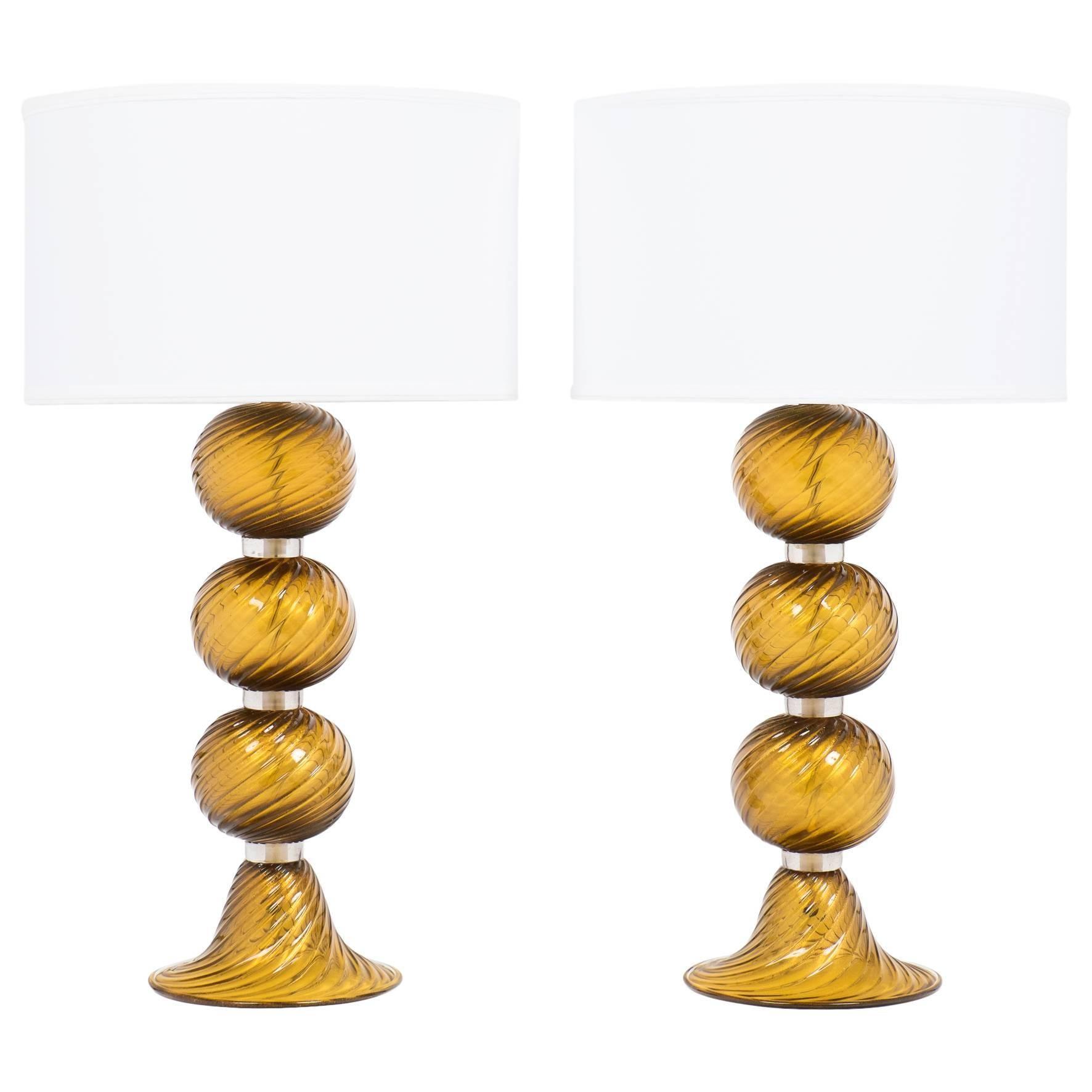 "Pair of Murano Tobacco ""Avventurina"" Glass Table Lamps"