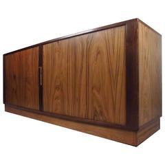 Mid-Century Modern Danish Rosewood Tambour Server by H.P. Hansen