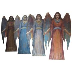 Four Large Angels from a Theater Decor, Italy, circa 1850s