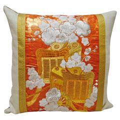 Custom Pillow from a Silk Embroidered Vintage Uchikake Wedding Kimono