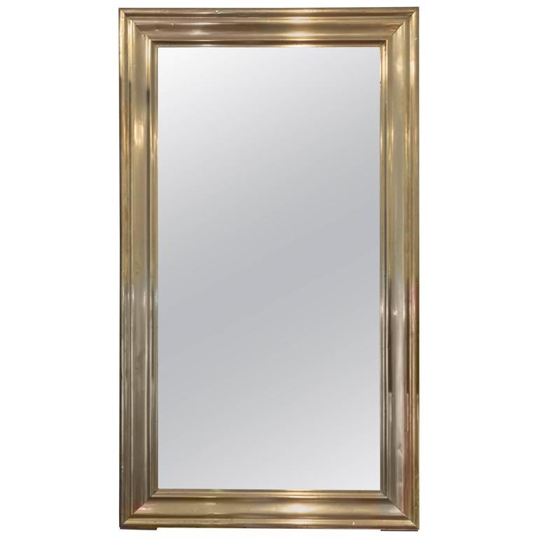 19th Century Brass Bistro Mirror, France, circa 1860 1