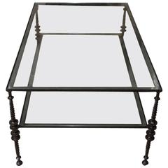 Giacometti Style Black Wrought Iron Two-Tier Cocktail Table
