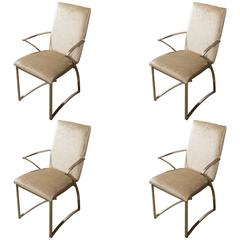 Set of Four Mid-Century Milo Baughman Style Chrome Dining Chairs