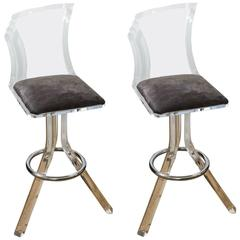 Attractive Pair of Mid-Century Lucite and Chrome Bar Stools