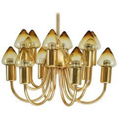 Chandelier in Brass by Hans-Agne Jakobsson