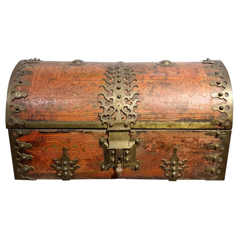 Large Anglo Indian Malabar Treasure Chest Brass Fittings Circa 19th Century At 1stdibs