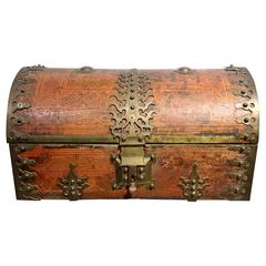 Large Anglo Indian Malabar Treasure Chest, Brass Fittings circa 19th Century