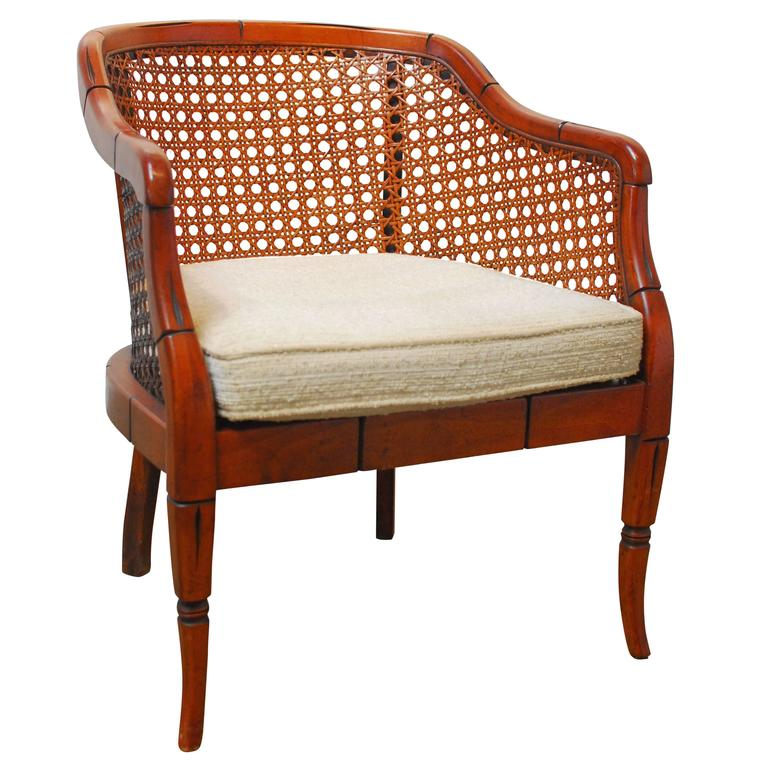 Exceptionnel Midcentury Bamboo Cane Barrel Chair For Sale
