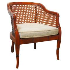 Midcentury Bamboo Cane Barrel Chair