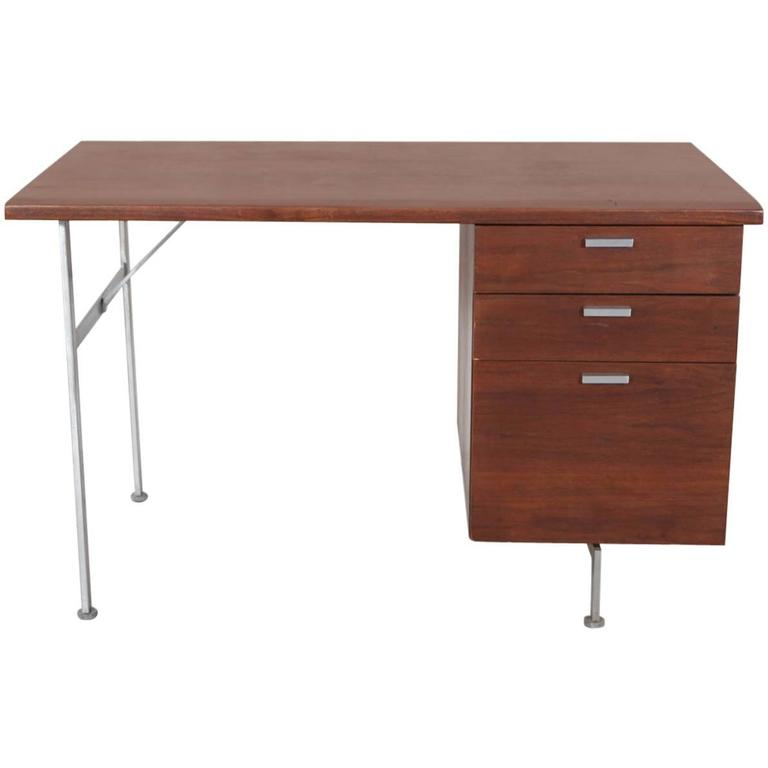 Midcentury Walnut and Stainless Steel Three-Drawer Desk 1