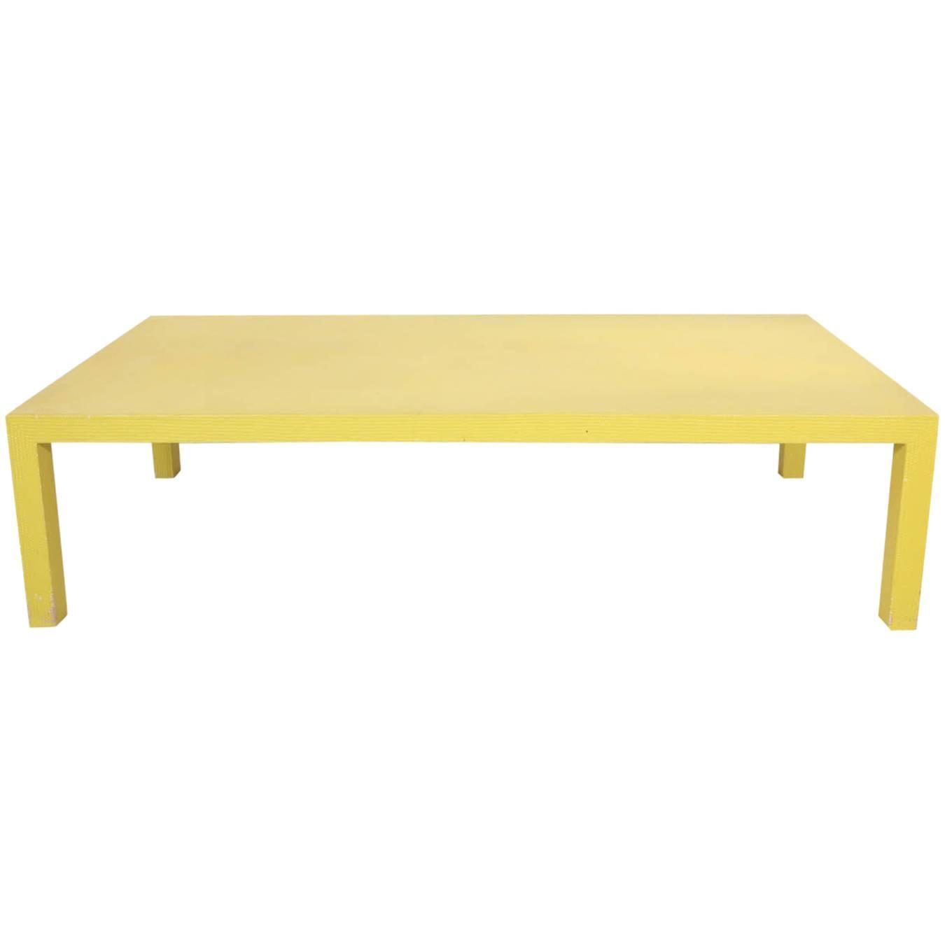 Yellow Woven Coffee Table Attributed To Karl Springer At 1stdibs
