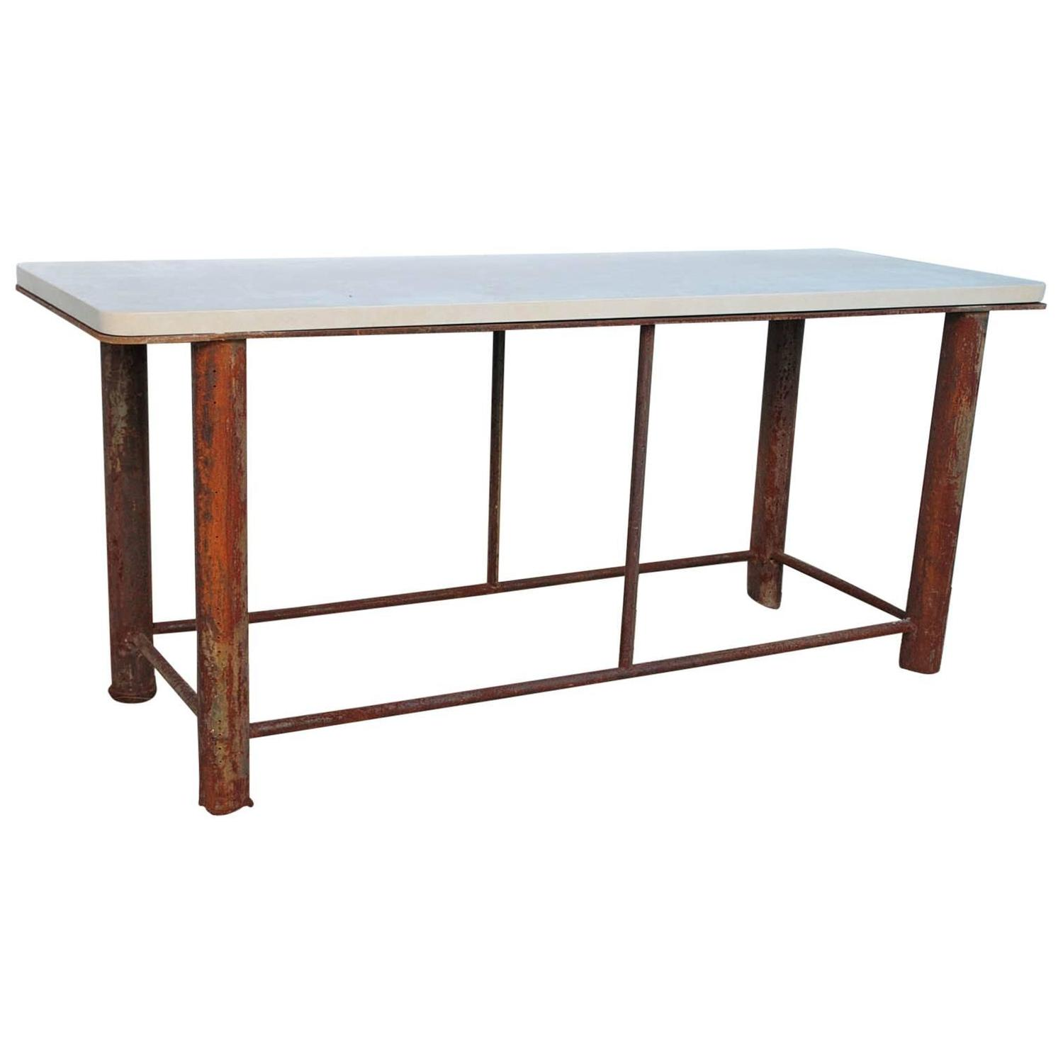 Industrial Shop Table Console At 1stdibs