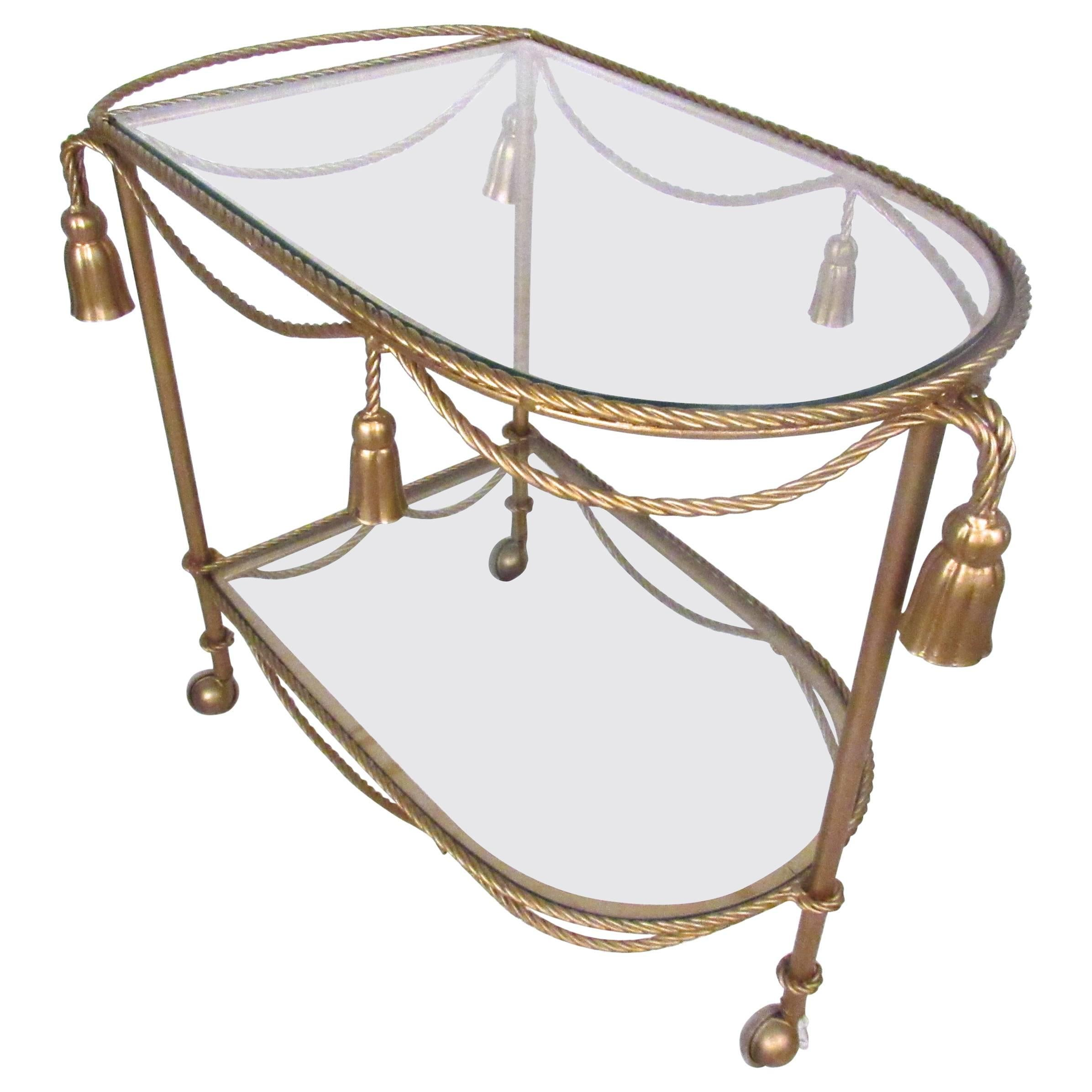 Italian Modern Gilt Tassel Serving Cart
