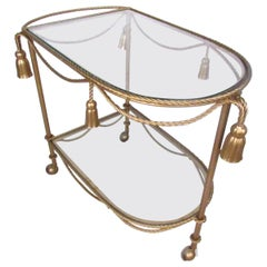Italian Modern Gilt Tassel Serving Cart