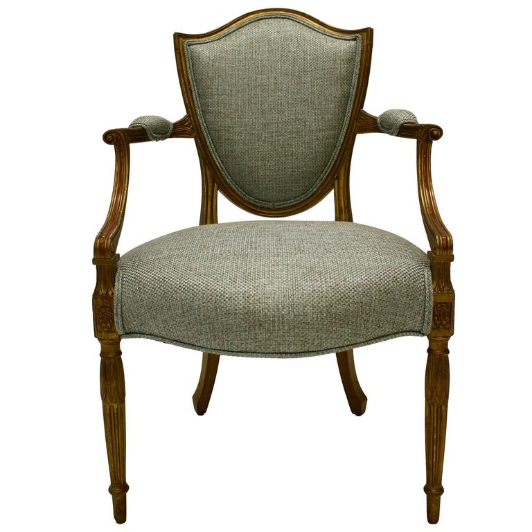 19th Century Hepplewhite Style Shield-Back Parcel-Gilt Armchair with Open Arms