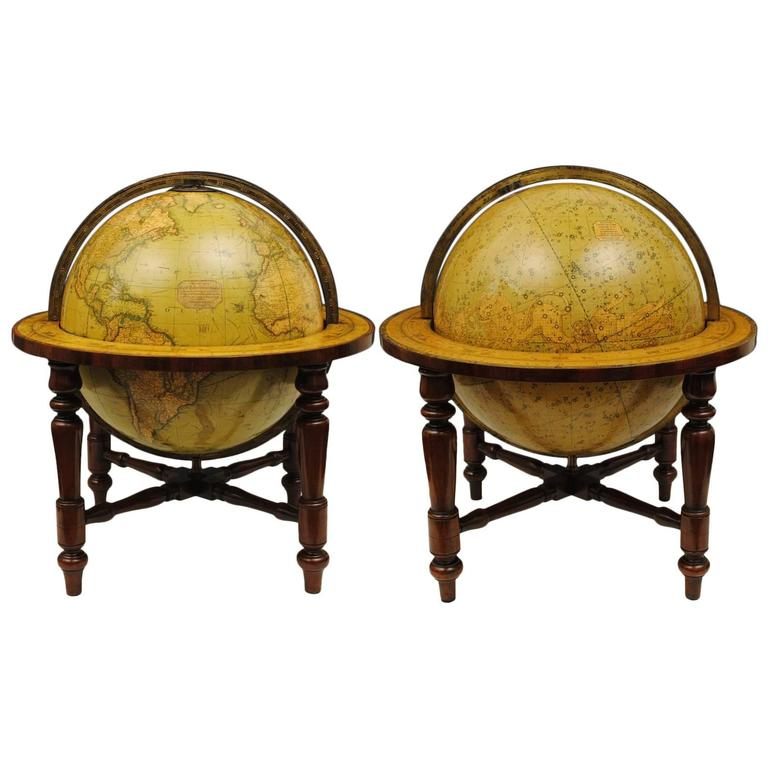 Terrestrial and Celestial Globe by Smith of Large Size