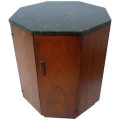 Modern Walnut Octagonal Drum Table in the Manner of Harvey Probber