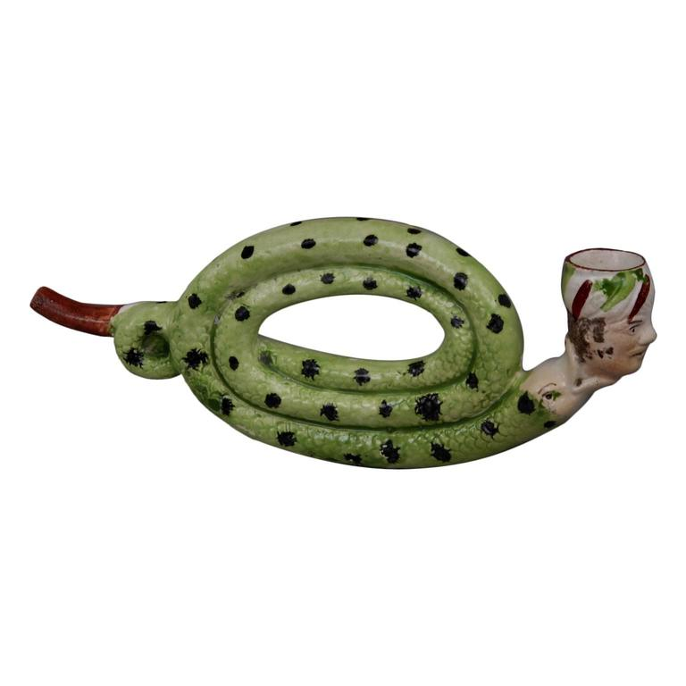 Rare Pipe in the Shape of a Snake, circa 1810 For Sale