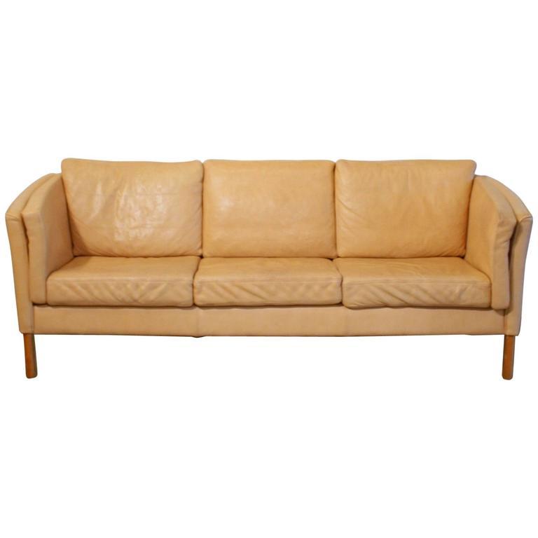 vintage danish cream leather sofa at 1stdibs