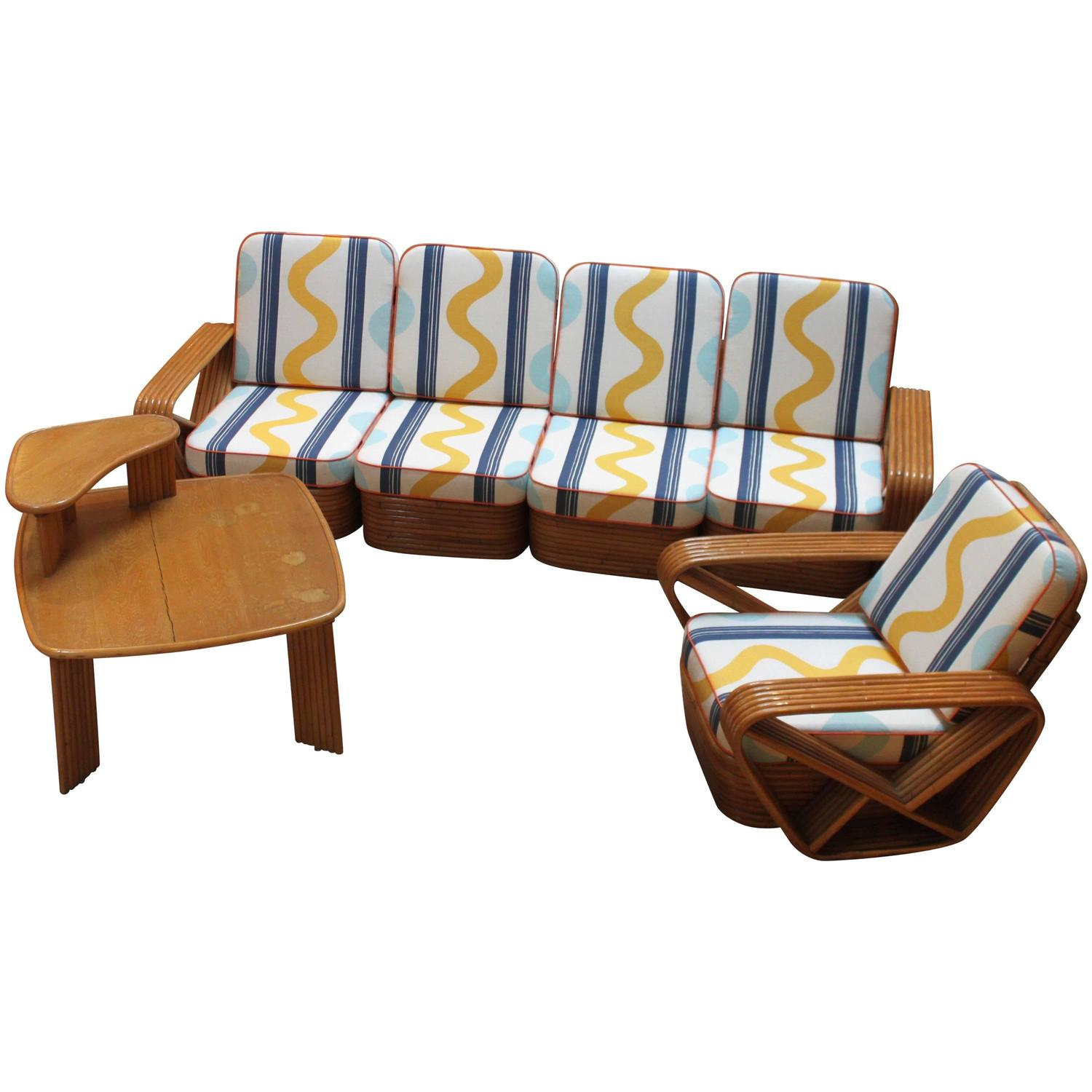 Rattan Full Living Room Set At 1stdibs