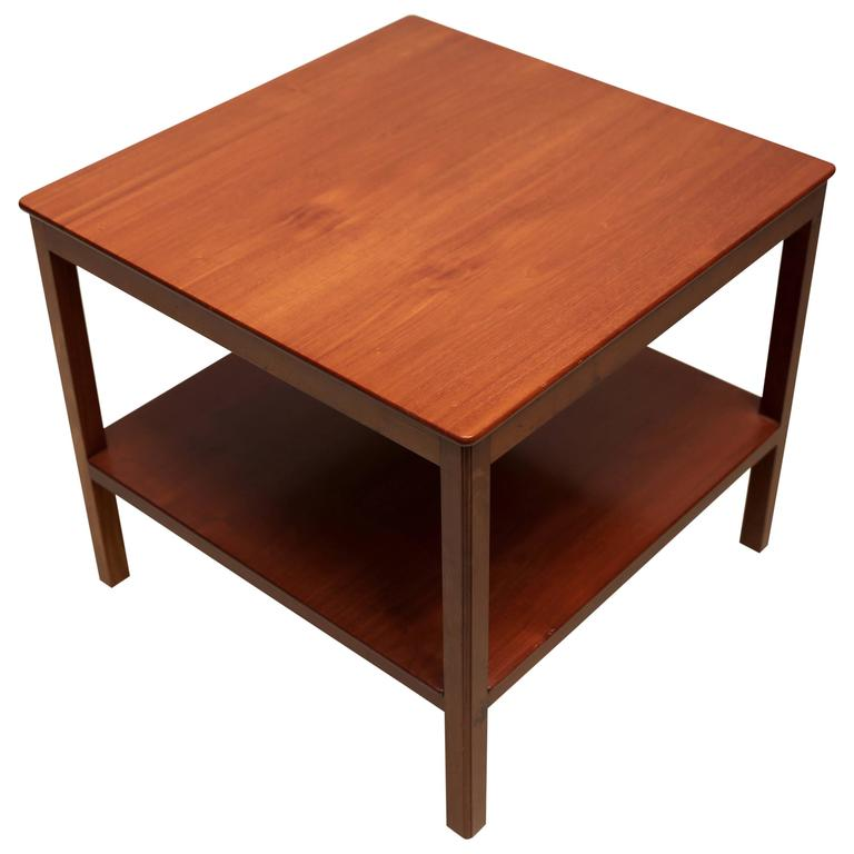Square Side Table With Bottom Shelf In Cuban Mahogany By Kaare Klint For