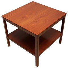 Square Side Table with Bottom Shelf in Cuban Mahogany by Kaare Klint