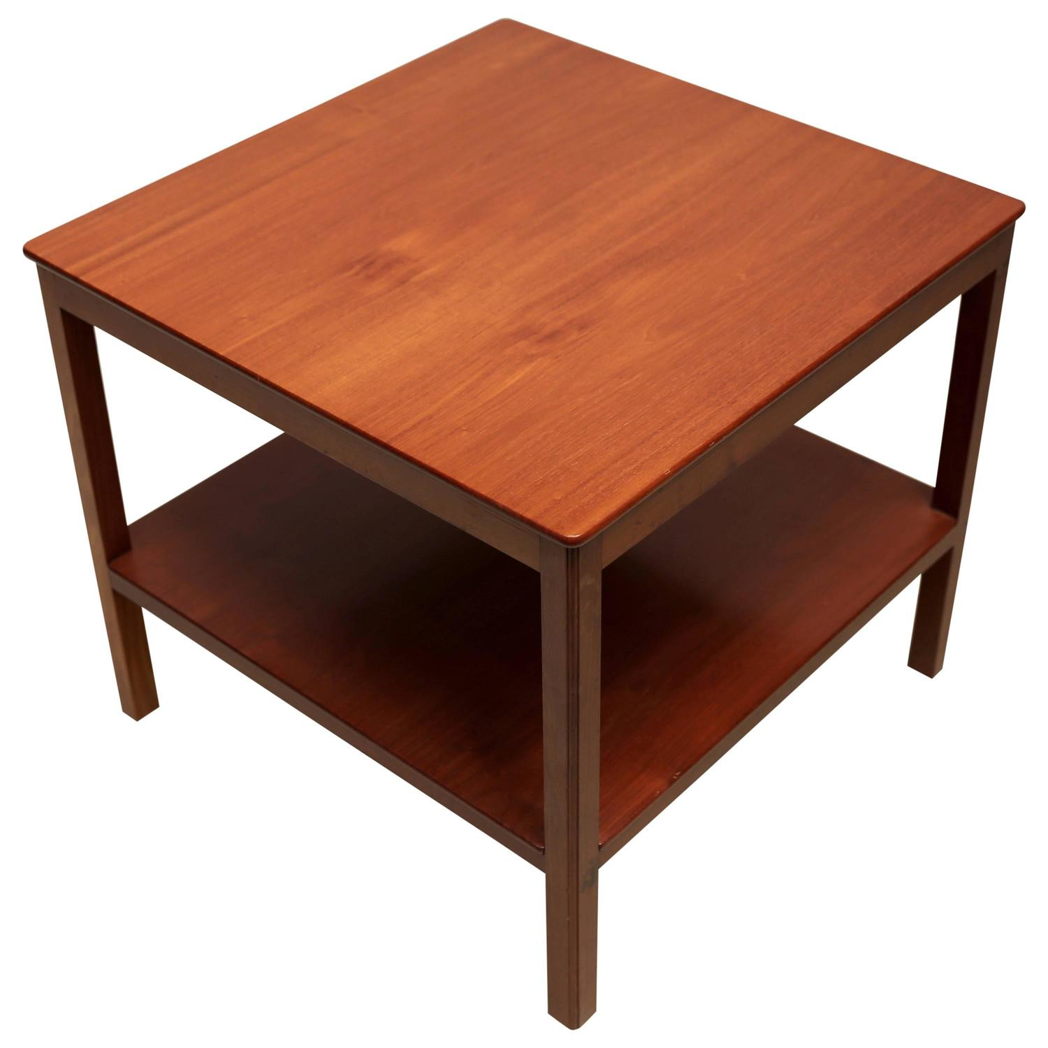 Square Side Table with Bottom Shelf in Cuban Mahogany by Kaare