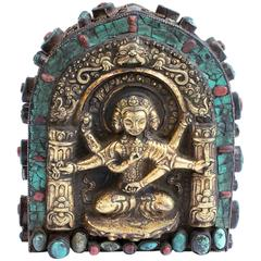 19th Century Tibetan Gua with Turquoise and Coral