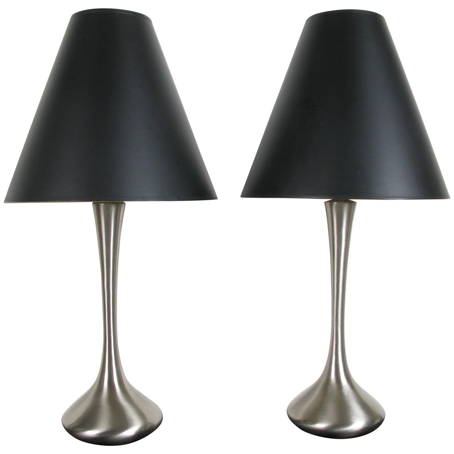 Pair Of Brushed Metal Lamps With Original Shades By Laurel
