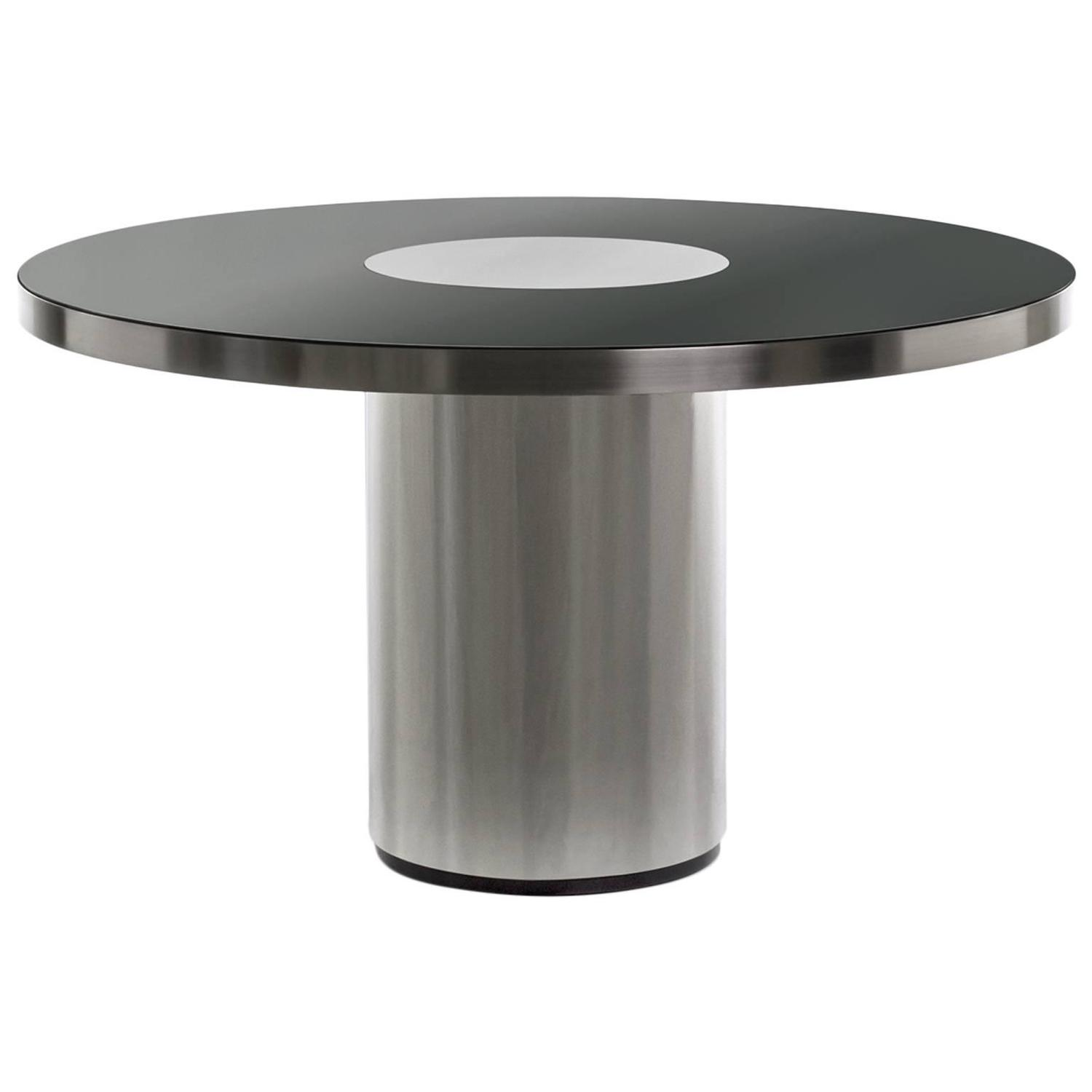 Round Black Mirrored Dining Table In The Style Of Willy Rizzo For Sale