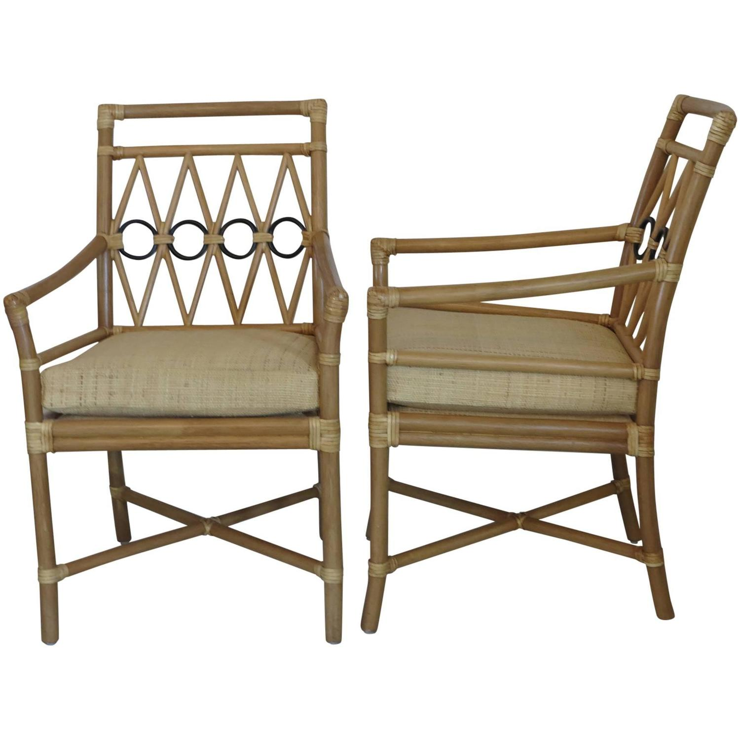 Ficks Reed Armchairs with Raffia Cushion Covers at 1stdibs