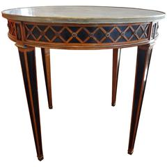 French Louis XVI Style Bouillotte Table With Marble Top, 1940's