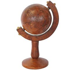 Italian Leather Decorative Desk World Globe