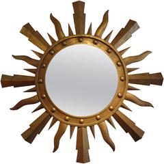 """Large 47"""" Mid Century Italian Gilt Iron Sunburst Mirror"""