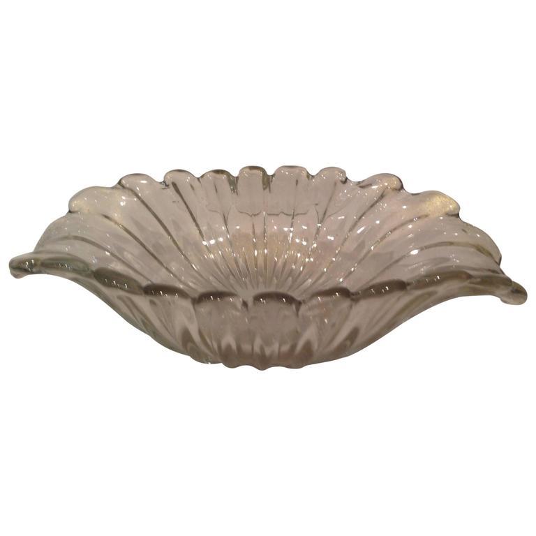 Large Archimede Seguso Murano Centerpiece Bowl