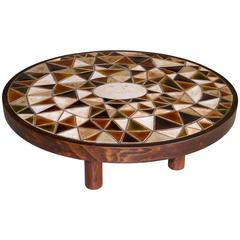 Roger Capron - Exceptional Round Low Table - Vallauris France - c. 1980