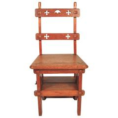Gothic Revival Metamorphic Chair and Step Ladder